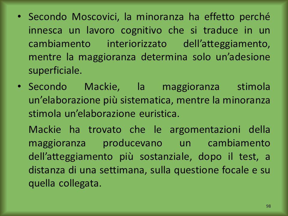 Secondo Moscovici, la minoranza ha effetto perché innesca un lavoro cognitivo che si traduce in un cambiamento interiorizzato dellatteggiamento, mentr