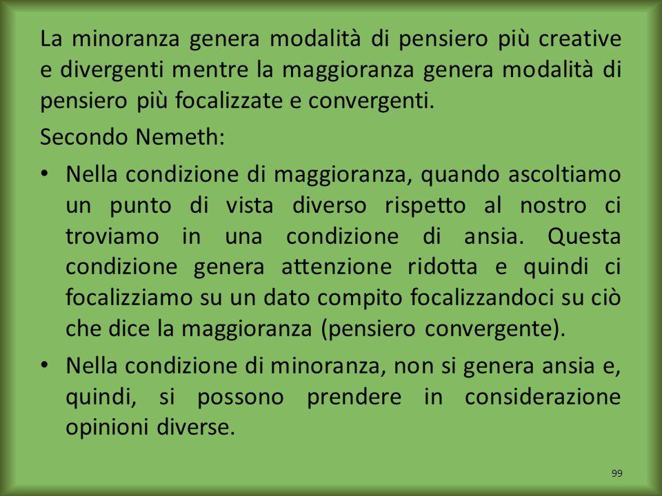 La minoranza genera modalità di pensiero più creative e divergenti mentre la maggioranza genera modalità di pensiero più focalizzate e convergenti. Se