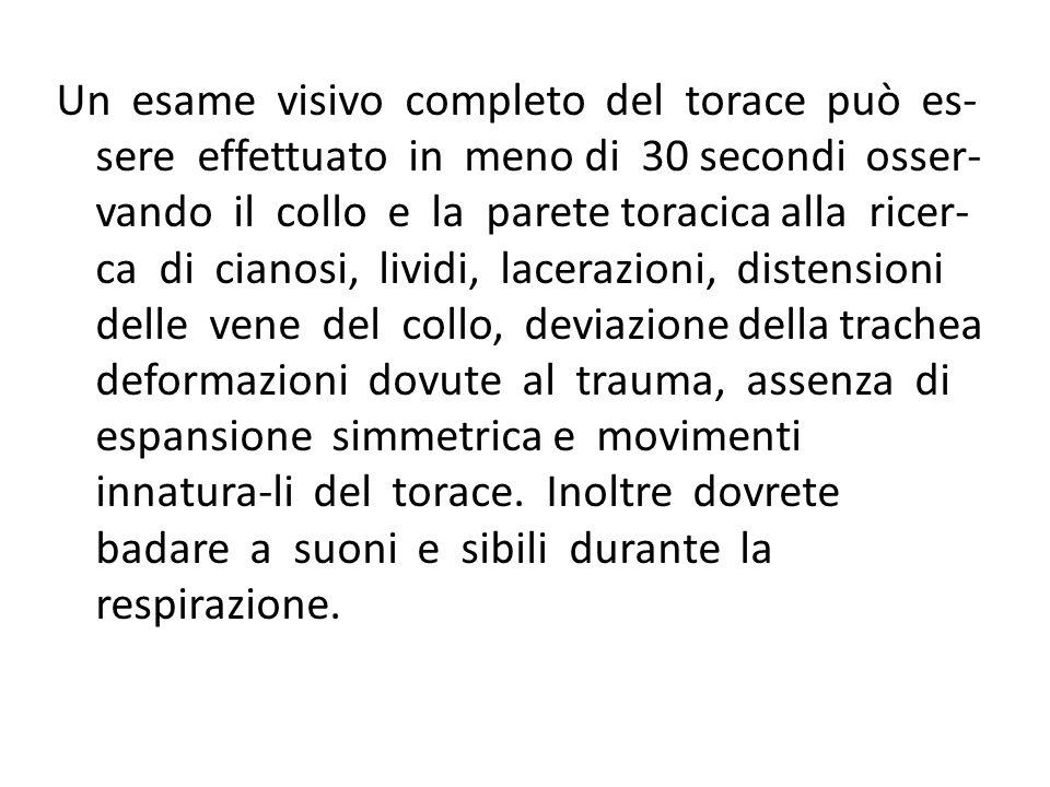 Un esame visivo completo del torace può es- sere effettuato in meno di 30 secondi osser- vando il collo e la parete toracica alla ricer- ca di cianosi