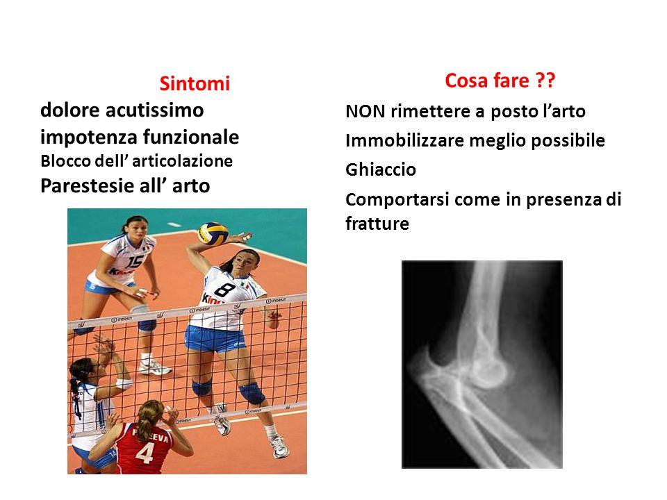 Sintomi dolore acutissimo impotenza funzionale Blocco dell articolazione Parestesie all arto Cosa fare ?.