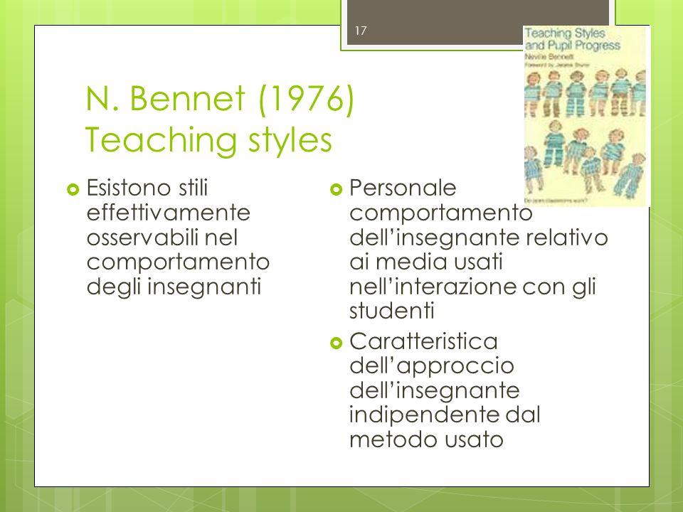 N. Bennet (1976) Teaching styles Esistono stili effettivamente osservabili nel comportamento degli insegnanti Personale comportamento dellinsegnante r