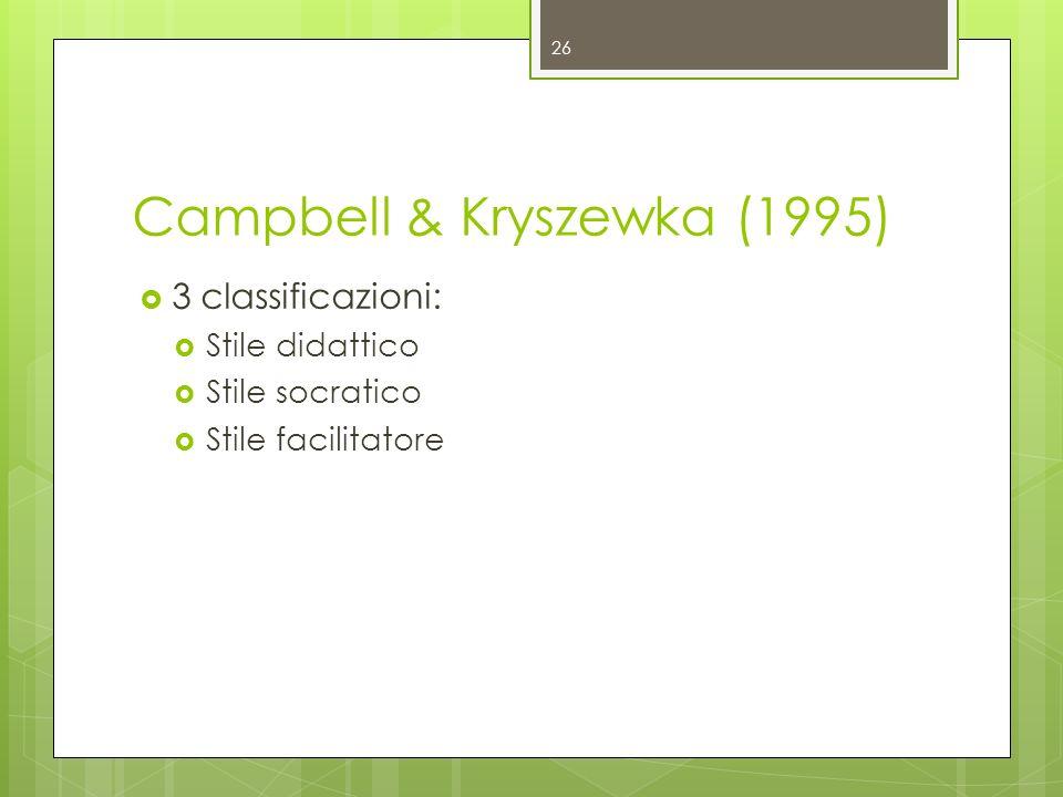 Campbell & Kryszewka (1995) 3 classificazioni: Stile didattico Stile socratico Stile facilitatore 26