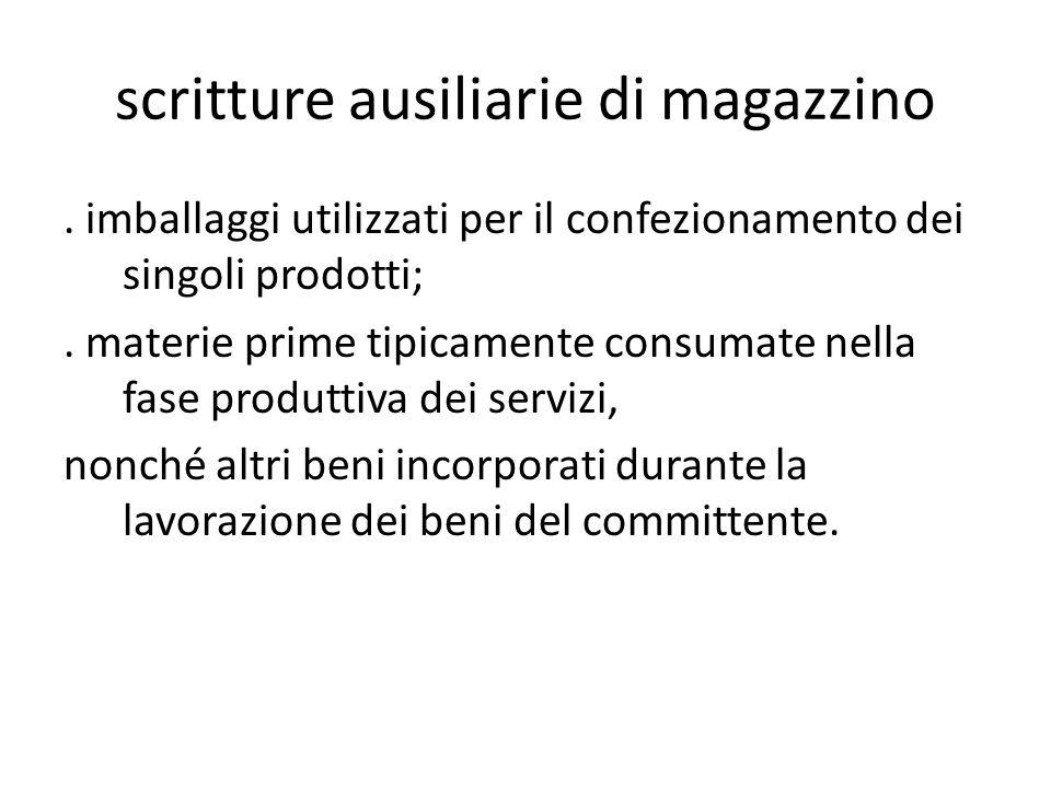 scritture ausiliarie di magazzino. imballaggi utilizzati per il confezionamento dei singoli prodotti;. materie prime tipicamente consumate nella fase
