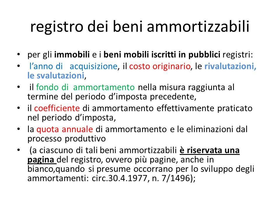 registro dei beni ammortizzabili per gli immobili e i beni mobili iscritti in pubblici registri: lanno di acquisizione, il costo originario, le rivalu