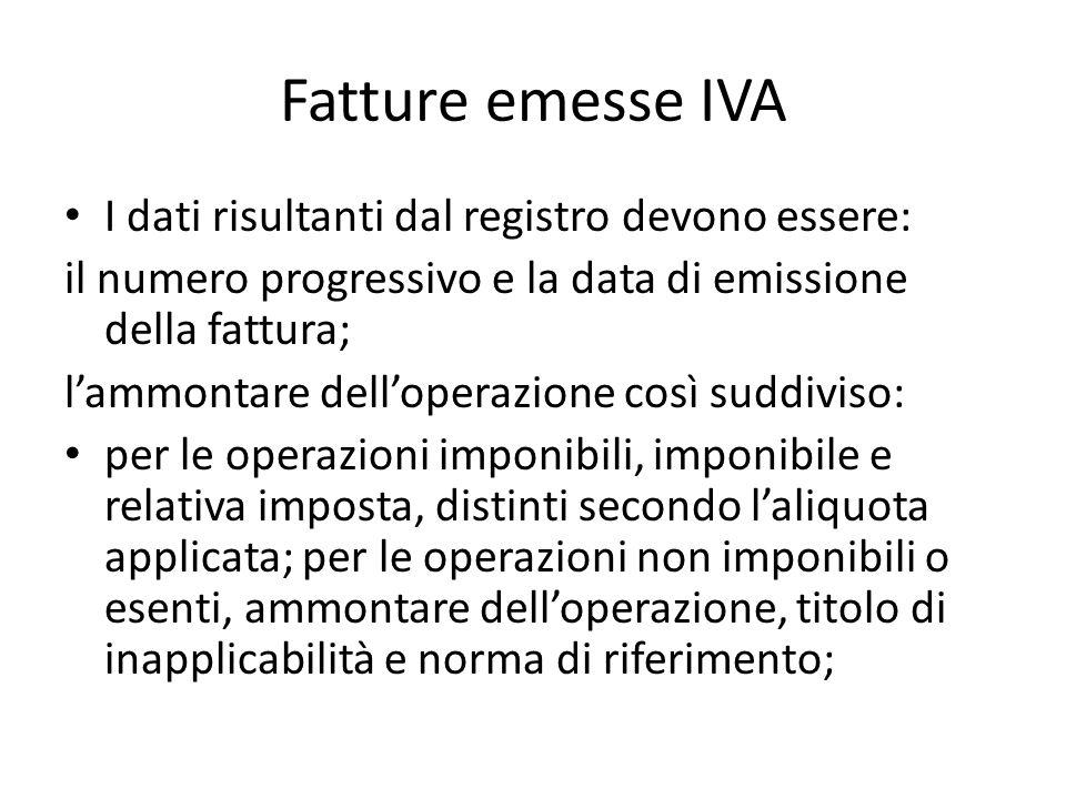 Fatture emesse IVA I dati risultanti dal registro devono essere: il numero progressivo e la data di emissione della fattura; lammontare delloperazione