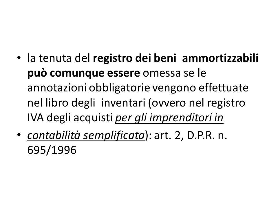 la tenuta del registro dei beni ammortizzabili può comunque essere omessa se le annotazioni obbligatorie vengono effettuate nel libro degli inventari (ovvero nel registro IVA degli acquisti per gli imprenditori in contabilità semplificata): art.