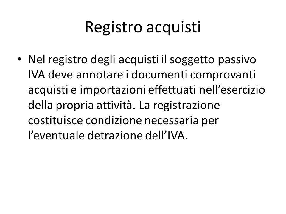 Registro acquisti Nel registro degli acquisti il soggetto passivo IVA deve annotare i documenti comprovanti acquisti e importazioni effettuati nellesercizio della propria attività.