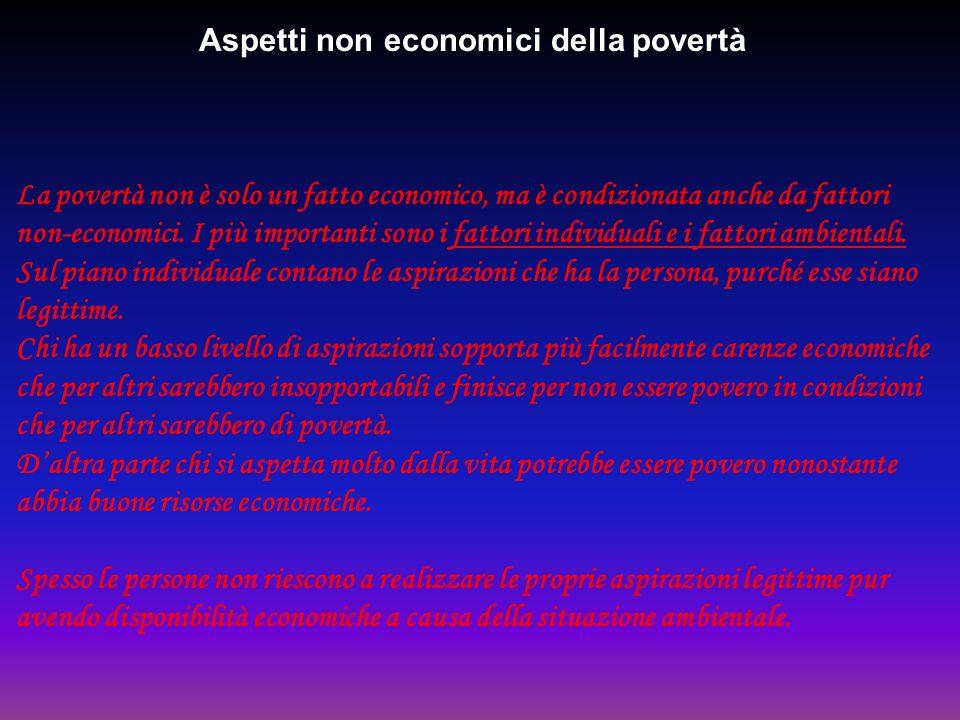 Aspetti non economici della povertà La povertà non è solo un fatto economico, ma è condizionata anche da fattori non-economici. I più importanti sono