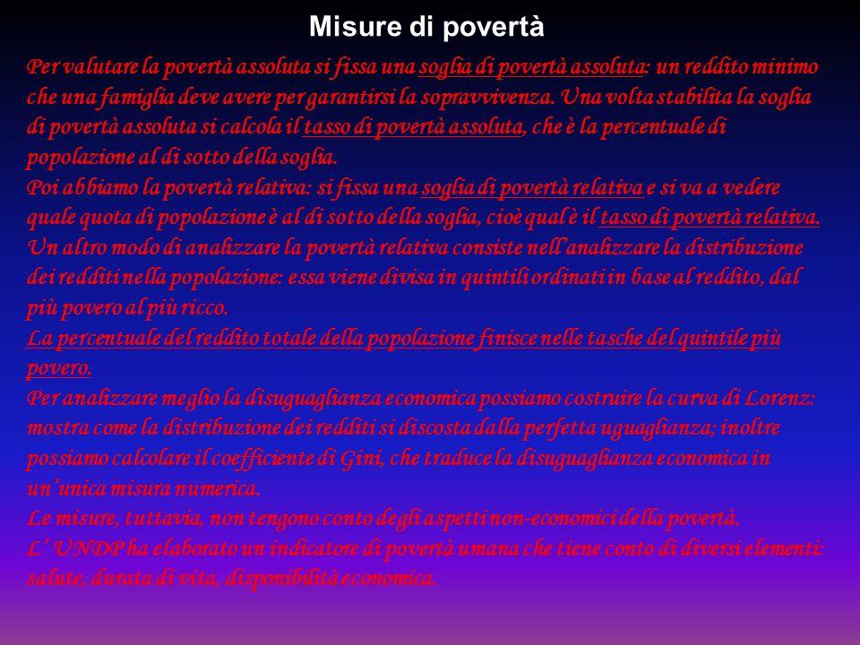 Misure di povertà Per valutare la povertà assoluta si fissa una soglia di povertà assoluta: un reddito minimo che una famiglia deve avere per garantir