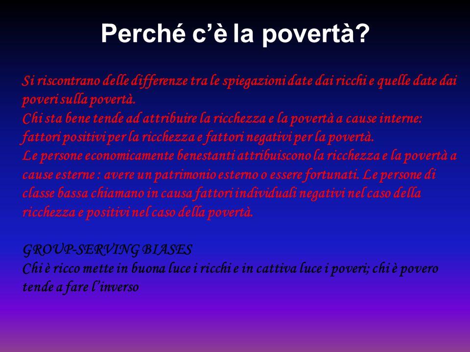 Perché cè la povertà? Si riscontrano delle differenze tra le spiegazioni date dai ricchi e quelle date dai poveri sulla povertà. Chi sta bene tende ad