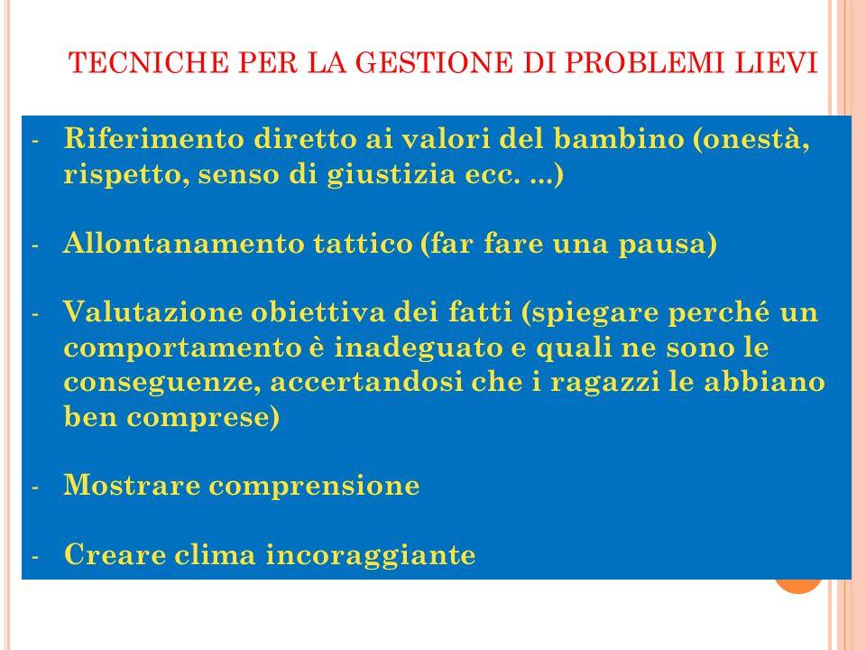 a cura di M.Grazia Franciosi TECNICHE PER LA GESTIONE DI PROBLEMI LIEVI - Riferimento diretto ai valori del bambino (onestà, rispetto, senso di giusti