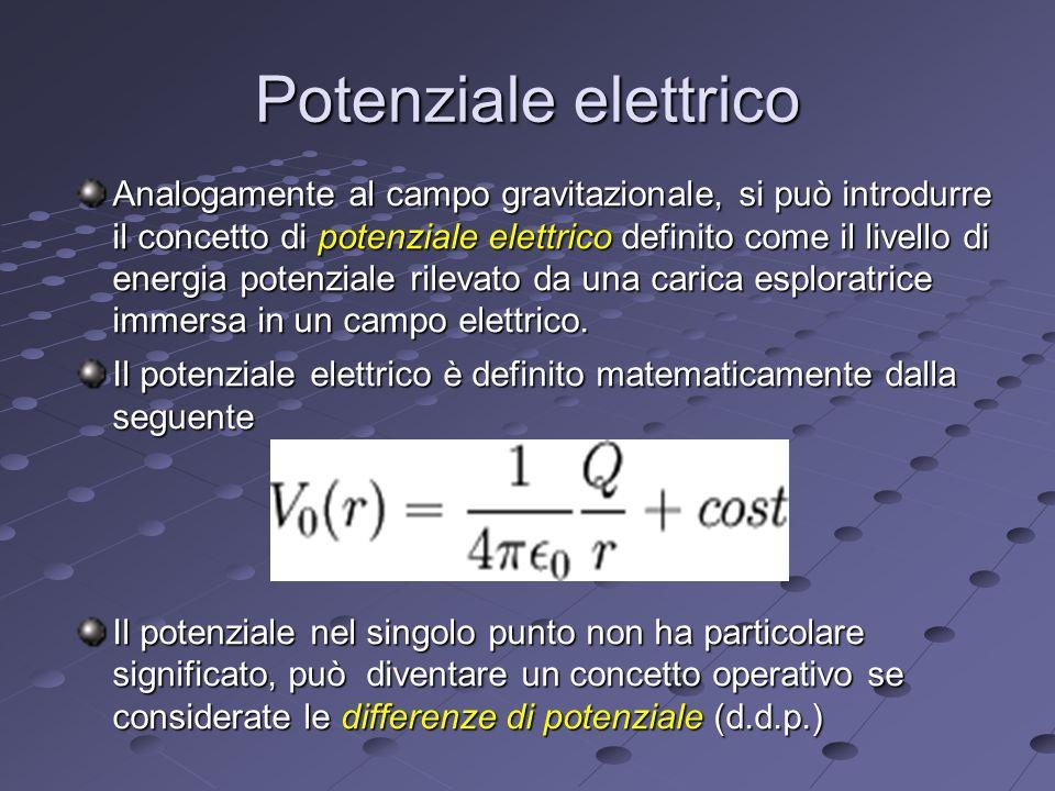 Potenziale elettrico Analogamente al campo gravitazionale, si può introdurre il concetto di potenziale elettrico definito come il livello di energia potenziale rilevato da una carica esploratrice immersa in un campo elettrico.