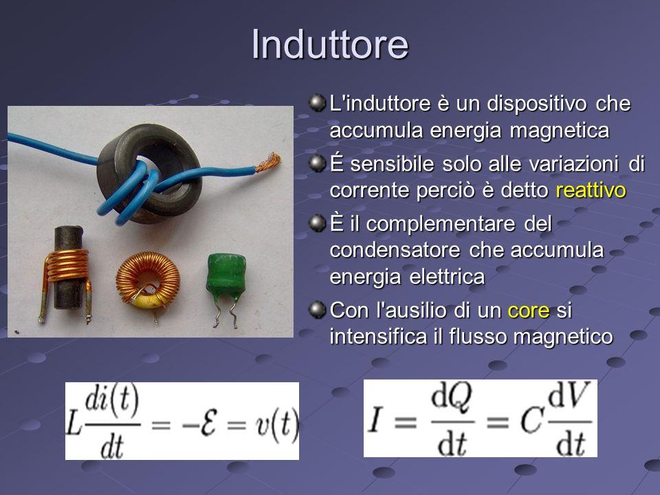 Induttore L induttore è un dispositivo che accumula energia magnetica É sensibile solo alle variazioni di corrente perciò è detto reattivo È il complementare del condensatore che accumula energia elettrica Con l ausilio di un core si intensifica il flusso magnetico