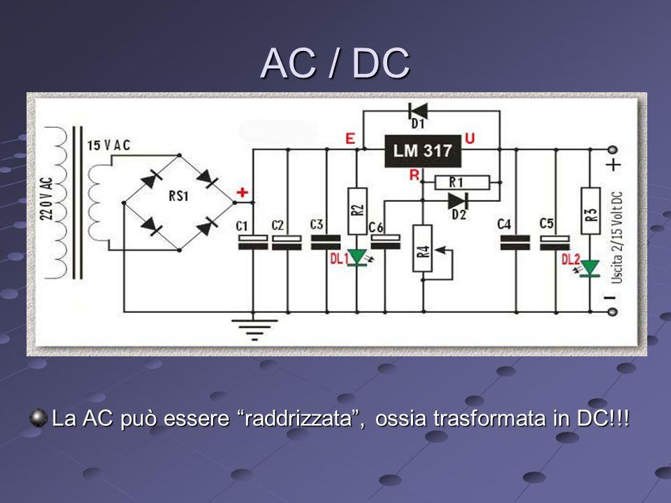 AC / DC La AC può essere raddrizzata, ossia trasformata in DC!!!