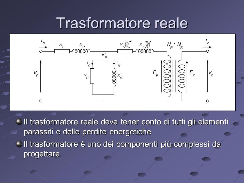 Trasformatore reale Il trasformatore reale deve tener conto di tutti gli elementi parassiti e delle perdite energetiche Il trasformatore è uno dei componenti più complessi da progettare