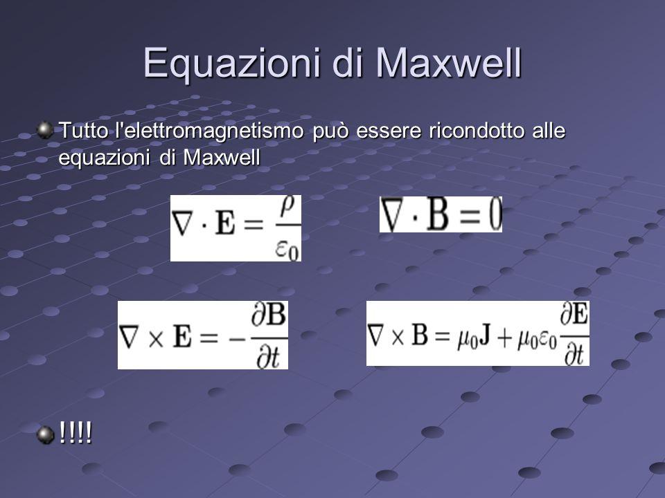 Equazioni di Maxwell Tutto l elettromagnetismo può essere ricondotto alle equazioni di Maxwell !!!!