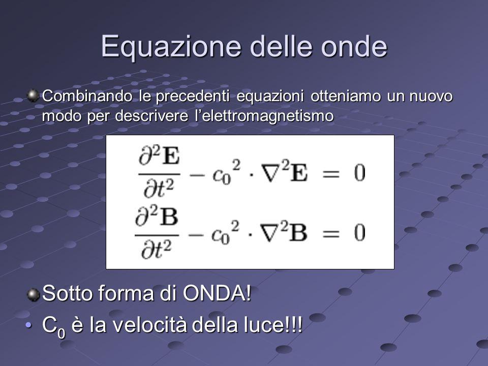 Equazione delle onde Combinando le precedenti equazioni otteniamo un nuovo modo per descrivere lelettromagnetismo Sotto forma di ONDA.