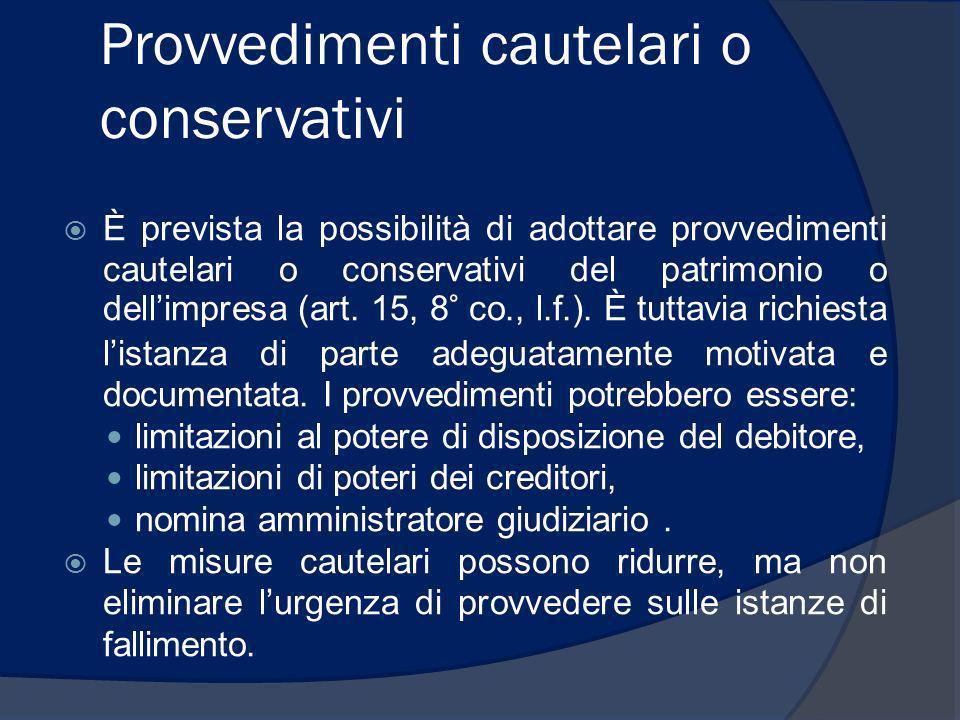 Provvedimenti cautelari o conservativi È prevista la possibilità di adottare provvedimenti cautelari o conservativi del patrimonio o dellimpresa (art.