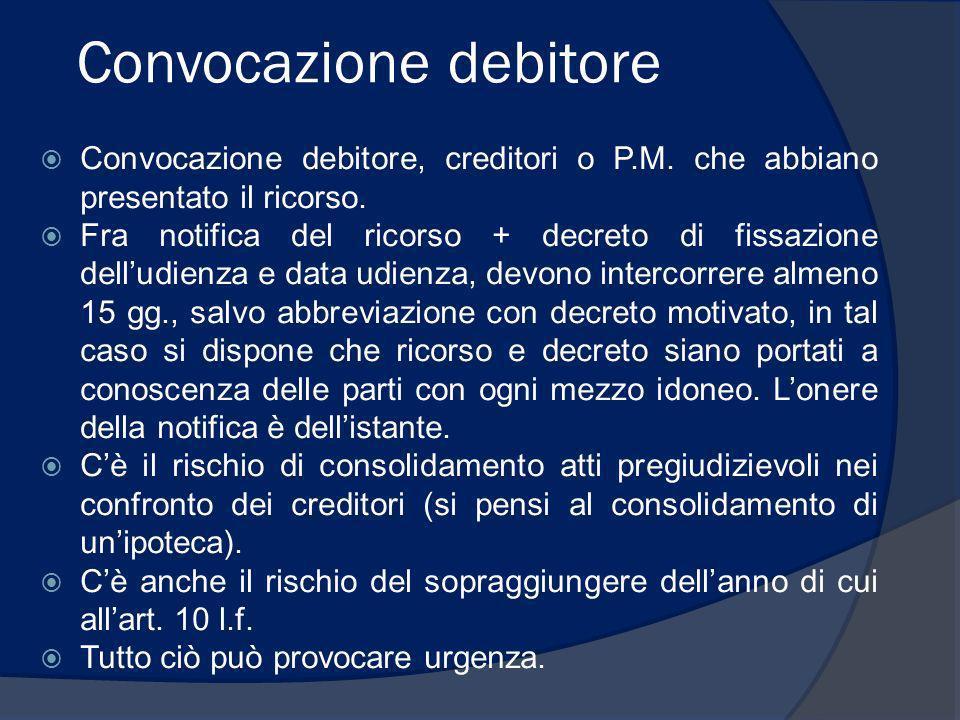 Convocazione debitore Convocazione debitore, creditori o P.M. che abbiano presentato il ricorso. Fra notifica del ricorso + decreto di fissazione dell