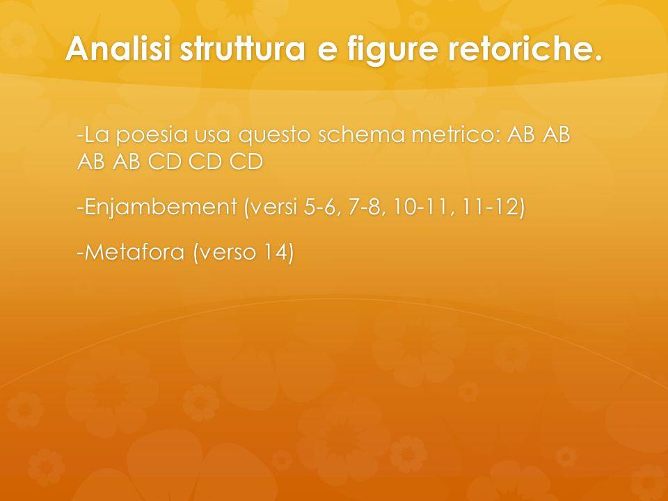 Analisi struttura e figure retoriche. -La poesia usa questo schema metrico: AB AB AB AB CD CD CD -Enjambement (versi 5-6, 7-8, 10-11, 11-12) -Metafora