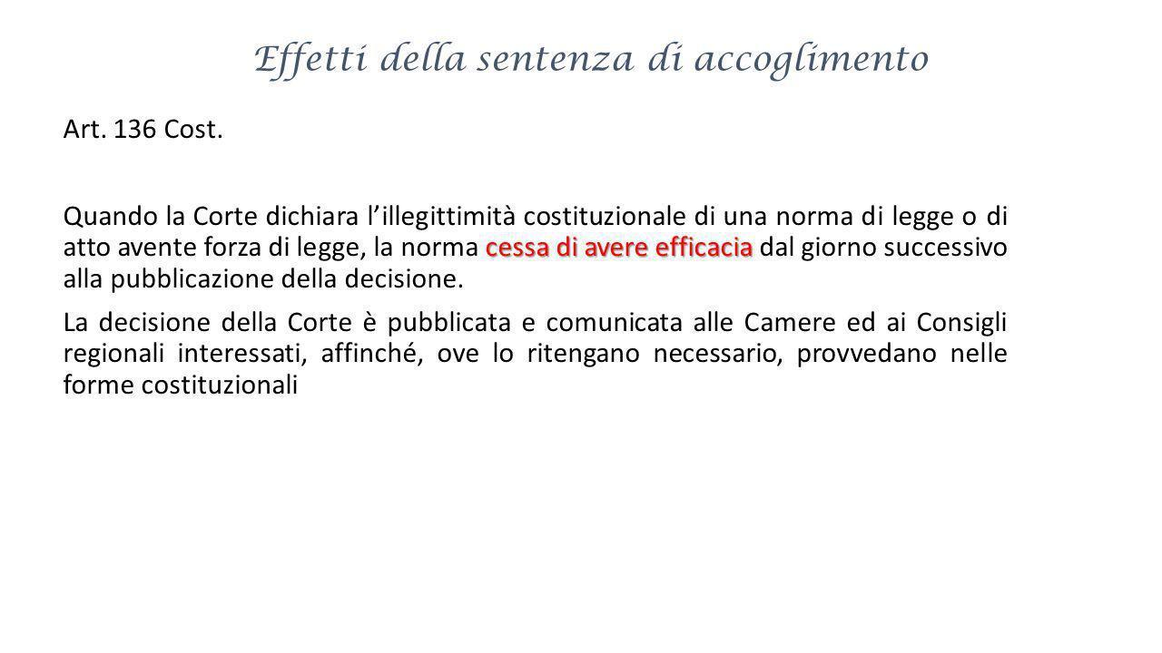 Effetti della sentenza di accoglimento Art. 136 Cost. cessa di avere efficacia Quando la Corte dichiara lillegittimità costituzionale di una norma di