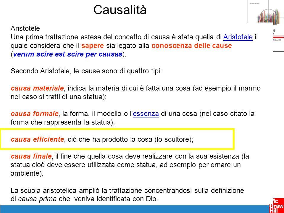 Causalità Aristotele Una prima trattazione estesa del concetto di causa è stata quella di Aristotele il quale considera che il sapere sia legato alla conoscenza delle causeAristotele (verum scire est scire per causas).