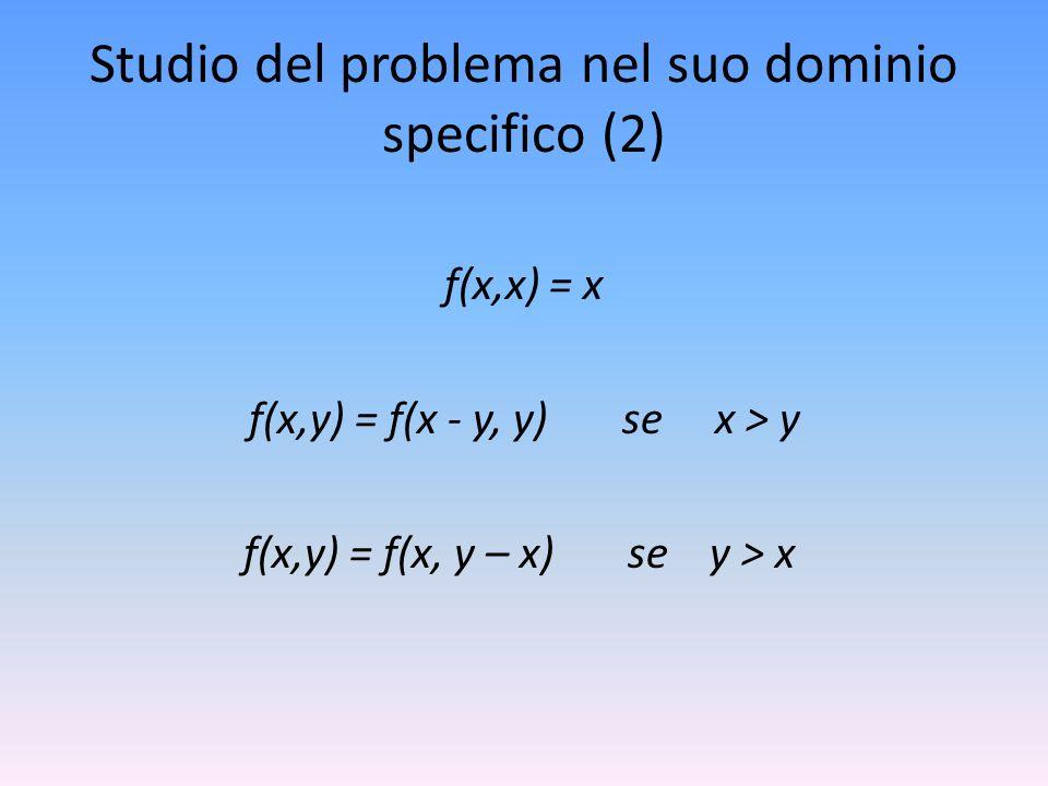 Studio del problema nel suo dominio specifico (2) f(x,x) = x f(x,y) = f(x - y, y) se x > y f(x,y) = f(x, y – x) se y > x