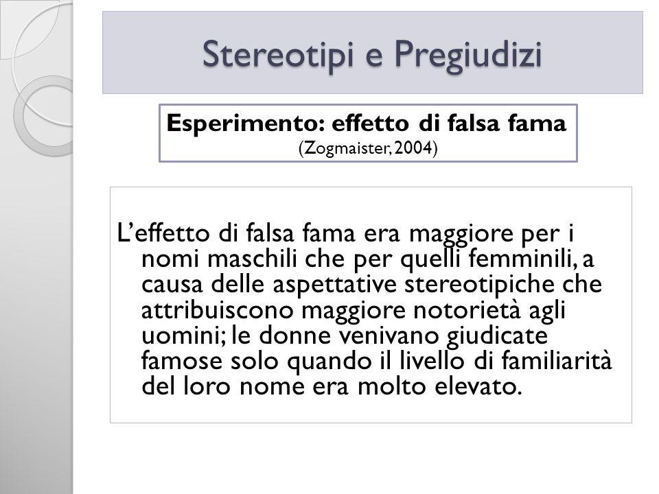 Leffetto di falsa fama era maggiore per i nomi maschili che per quelli femminili, a causa delle aspettative stereotipiche che attribuiscono maggiore n