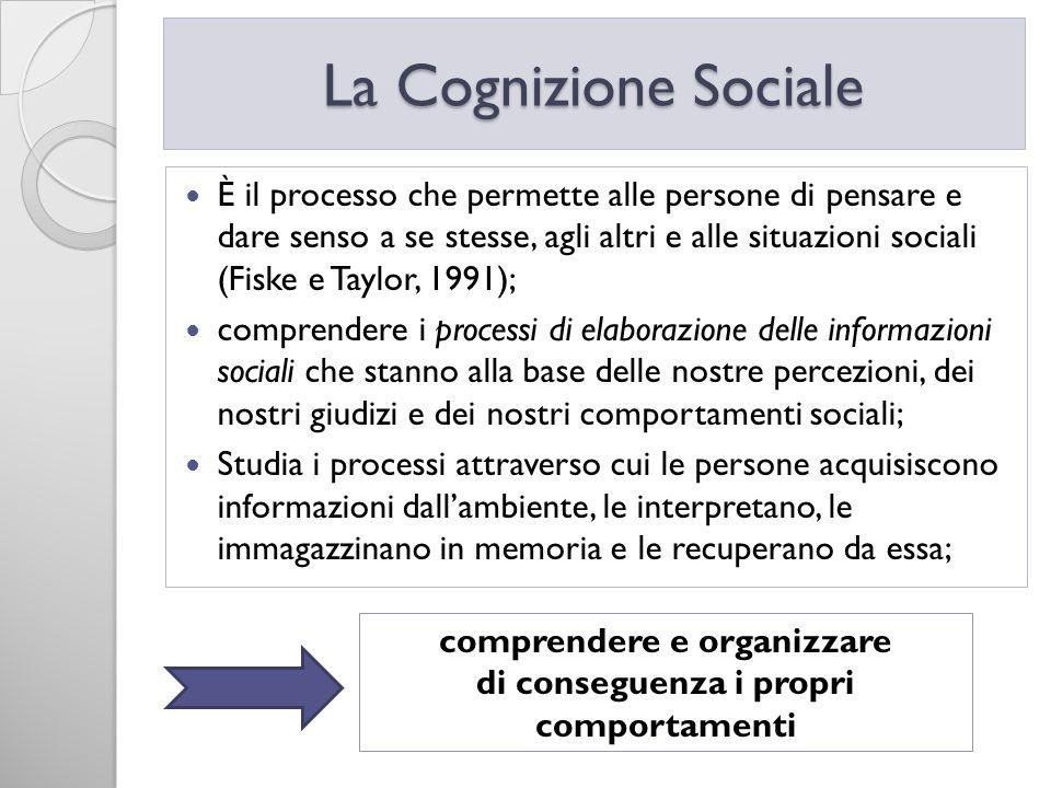 È il processo che permette alle persone di pensare e dare senso a se stesse, agli altri e alle situazioni sociali (Fiske e Taylor, 1991); comprendere