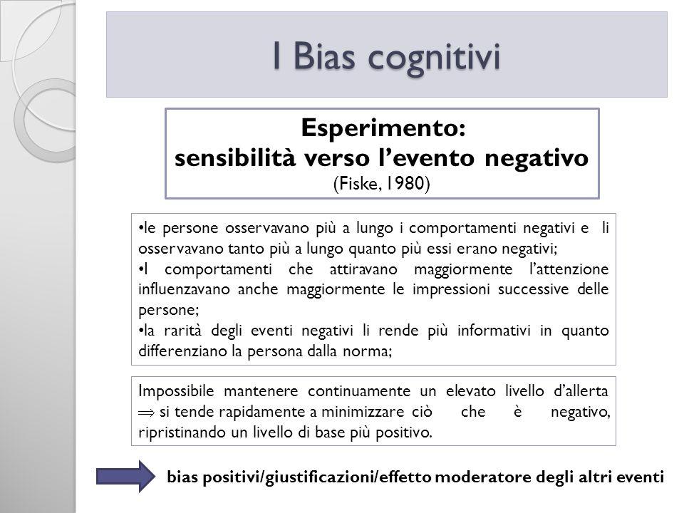 I Bias cognitivi Esperimento: sensibilità verso levento negativo (Fiske, 1980) le persone osservavano più a lungo i comportamenti negativi e li osserv