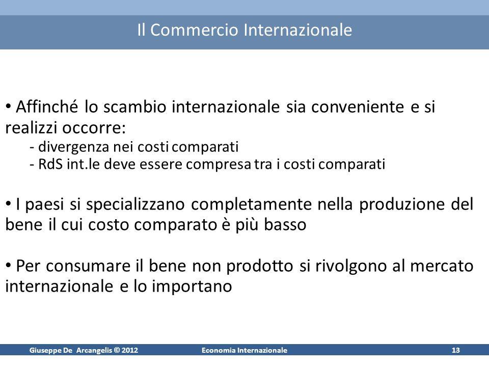 Giuseppe De Arcangelis © 2012Economia Internazionale12 La Ragione di Scambio Internazionale Se sul mercato int.le: 1 microchip=2 t-shirt Le due altern