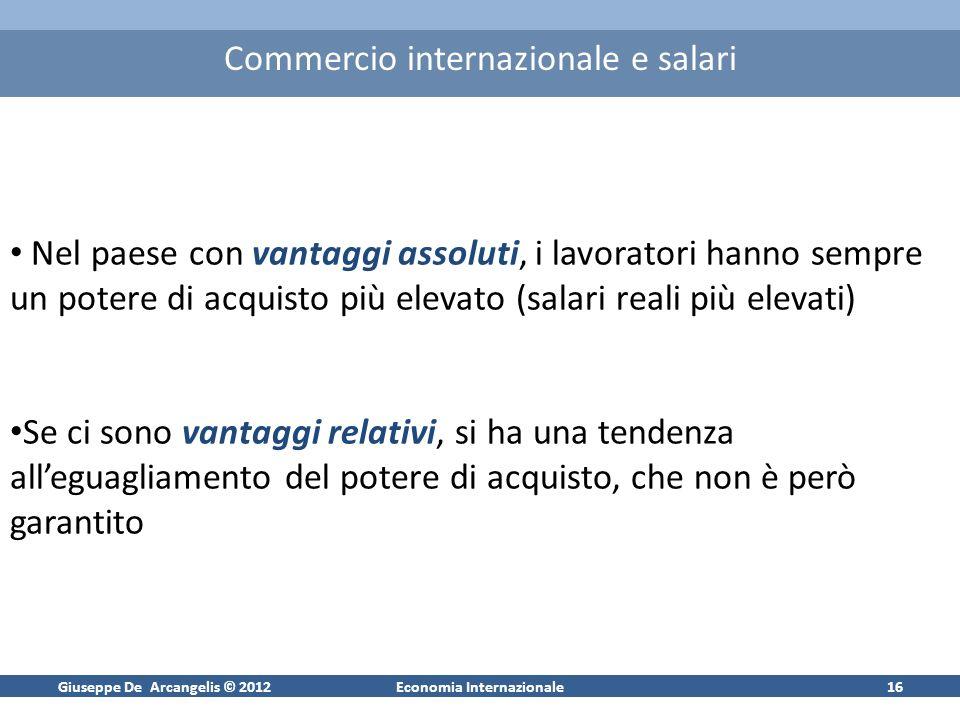 Giuseppe De Arcangelis © 2012Economia Internazionale15 Vantaggi assoluti, comparati e salari Poiché vige la concorrenza perfetta anche sul mercato del