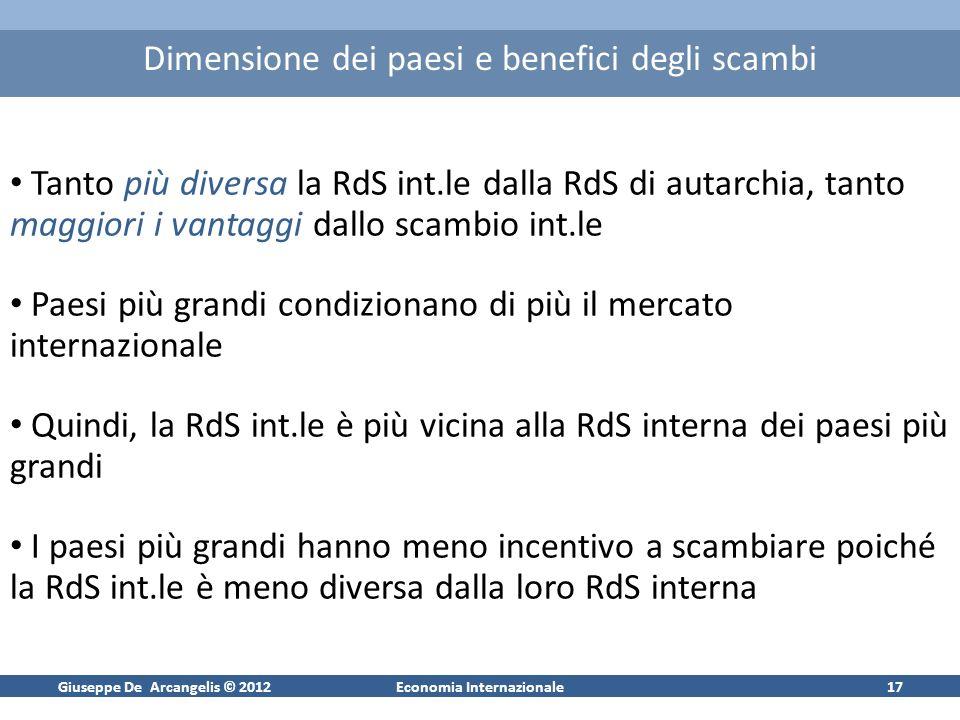 Giuseppe De Arcangelis © 2012Economia Internazionale16 Commercio internazionale e salari Nel paese con vantaggi assoluti, i lavoratori hanno sempre un