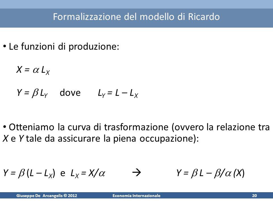 Giuseppe De Arcangelis © 2012Economia Internazionale20 Formalizzazione del modello di Ricardo Le funzioni di produzione: X = L X Y = L Y dove L Y = L – L X Otteniamo la curva di trasformazione (ovvero la relazione tra X e Y tale da assicurare la piena occupazione): Y = (L – L X ) e L X = X/ Y = L – / (X)