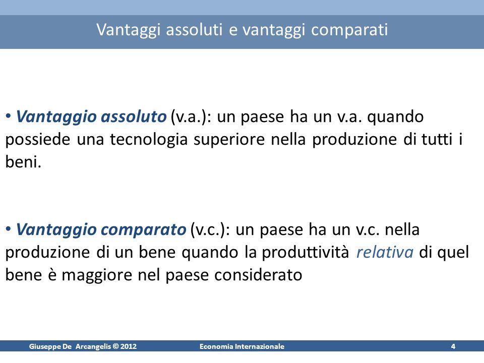 Giuseppe De Arcangelis © 2012Economia Internazionale4 Vantaggi assoluti e vantaggi comparati Vantaggio assoluto (v.a.): un paese ha un v.a.