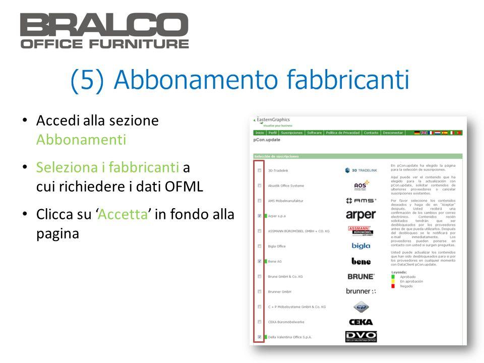 Accedi alla sezione Abbonamenti Seleziona i fabbricanti a cui richiedere i dati OFML Clicca su Accetta in fondo alla pagina