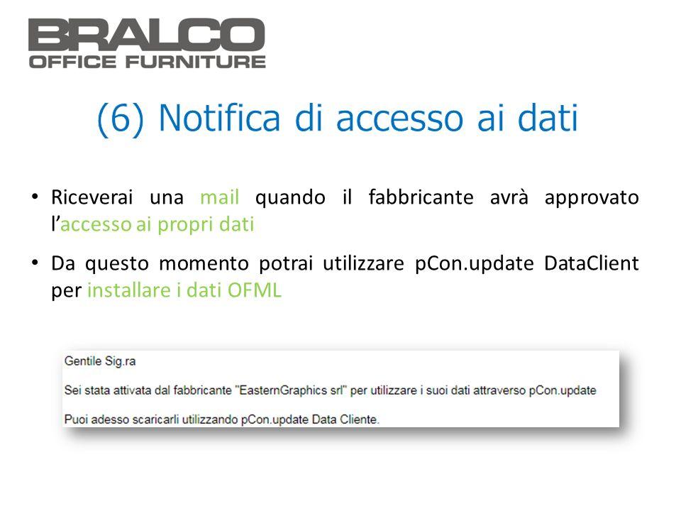 Riceverai una mail quando il fabbricante avrà approvato laccesso ai propri dati Da questo momento potrai utilizzare pCon.update DataClient per install