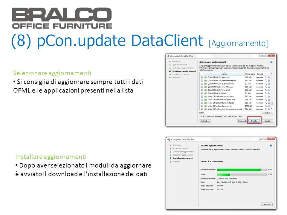Selezionare aggiornamenti Si consiglia di aggiornare sempre tutti i dati OFML e le applicazioni presenti nella lista Installare aggiornamenti Dopo ave