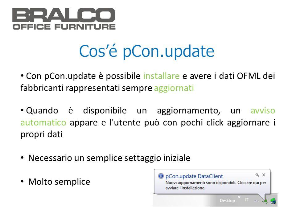 Con pCon.update è possibile installare e avere i dati OFML dei fabbricanti rappresentati sempre aggiornati Quando è disponibile un aggiornamento, un a