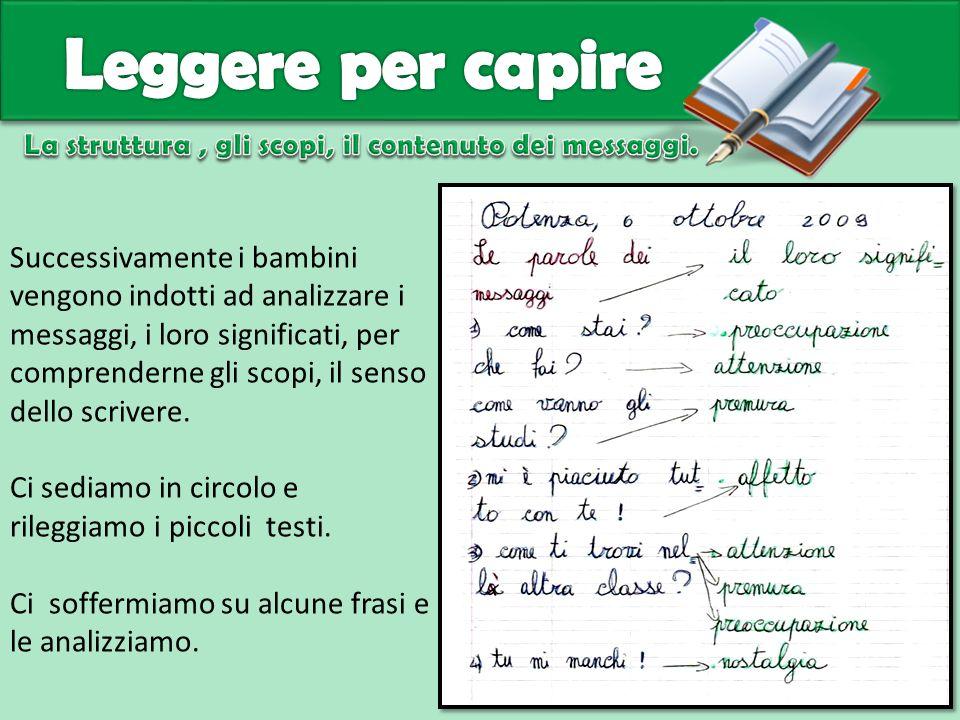 Successivamente i bambini vengono indotti ad analizzare i messaggi, i loro significati, per comprenderne gli scopi, il senso dello scrivere. Ci sediam