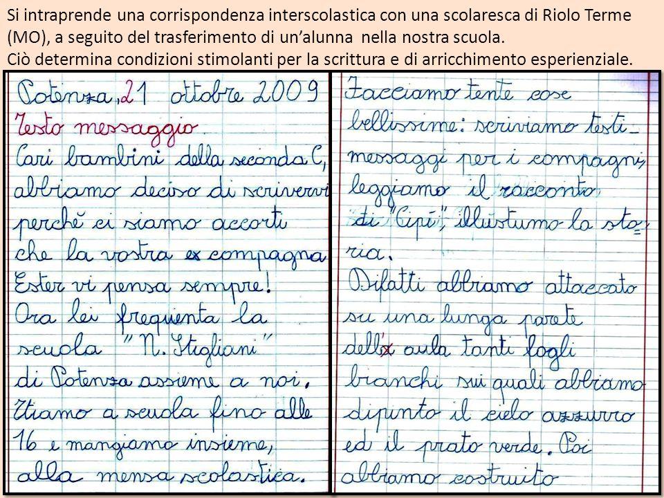 Si intraprende una corrispondenza interscolastica con una scolaresca di Riolo Terme (MO), a seguito del trasferimento di unalunna nella nostra scuola.