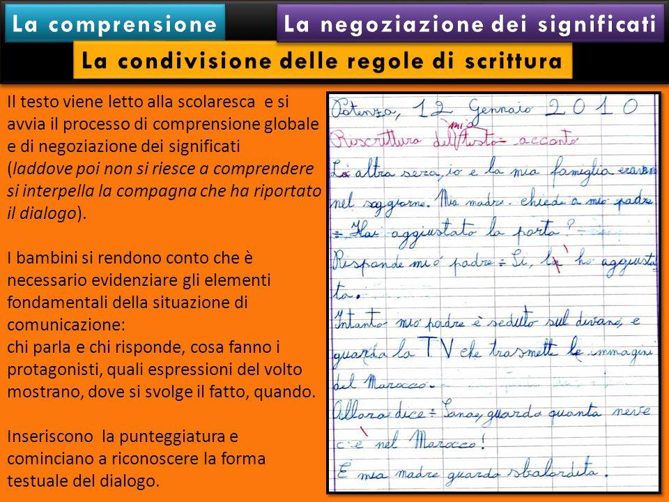 Il testo viene letto alla scolaresca e si avvia il processo di comprensione globale e di negoziazione dei significati (laddove poi non si riesce a com