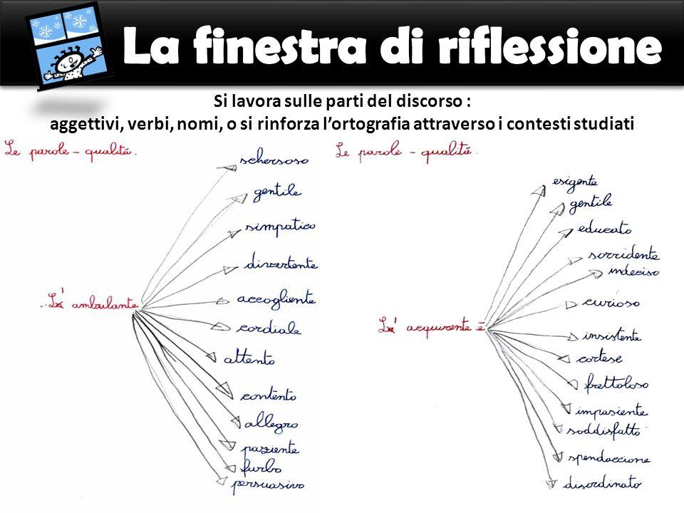 Si lavora sulle parti del discorso : aggettivi, verbi, nomi, o si rinforza lortografia attraverso i contesti studiati
