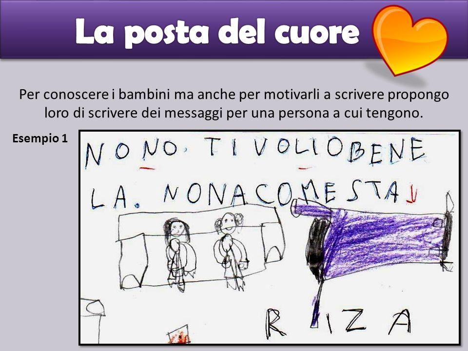 Per conoscere i bambini ma anche per motivarli a scrivere propongo loro di scrivere dei messaggi per una persona a cui tengono. Esempio 1