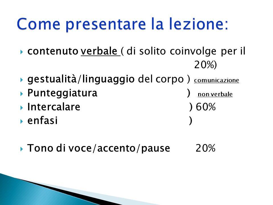contenuto verbale ( di solito coinvolge per il 20%) gestualità/linguaggio del corpo ) comunicazione Punteggiatura ) non verbale Intercalare ) 60% enfa