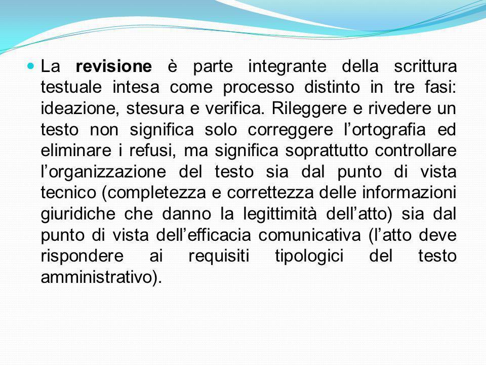 La revisione è parte integrante della scrittura testuale intesa come processo distinto in tre fasi: ideazione, stesura e verifica.