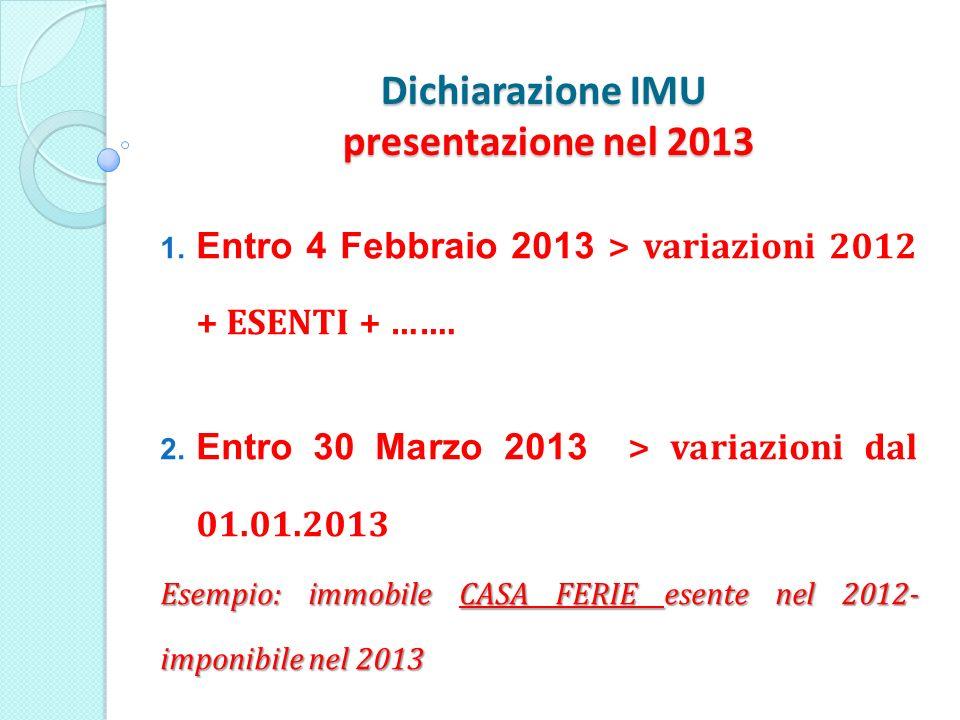 Dichiarazione IMU presentazione nel 2013 1. Entro 4 Febbraio 2013 > variazioni 2012 + ESENTI + …….