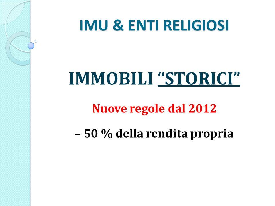 IMU & ENTI RELIGIOSI IMMOBILI STORICI Nuove regole dal 2012 – 50 % della rendita propria