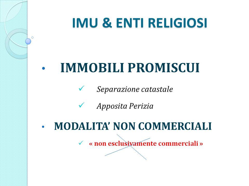 IMU & ENTI RELIGIOSI IMMOBILI PROMISCUI Separazione catastale Apposita Perizia MODALITA NON COMMERCIALI « non esclusivamente commerciali »