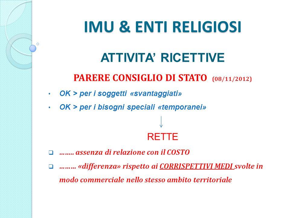 IMU & ENTI RELIGIOSI ATTIVITA RICETTIVE PARERE CONSIGLIO DI STATO (08/11/2012) OK > per i soggetti «svantaggiati» OK > per i bisogni speciali «temporanei» RETTE ……..